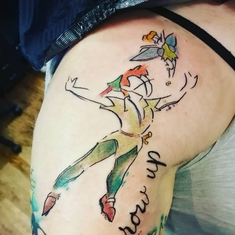 Peter pan disney color water tattoo by Jonki at Luna Ink tattoo studio in Newport, South Wales